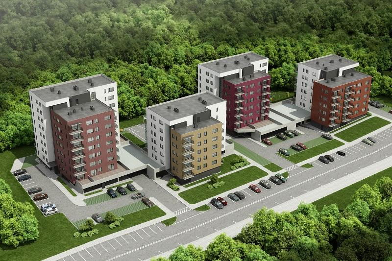 """Naujų gyvenamųjų namų kvartalas """"Miško namai"""", Č. Sugiharos gatvėje, Vilniuje"""